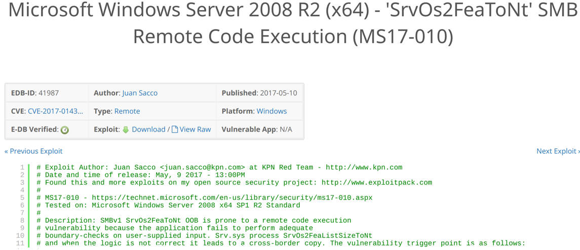 Exploit-DB MS17-010
