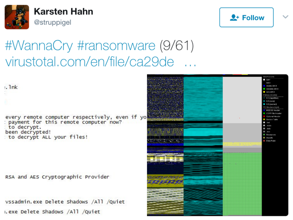 Karsten Hahn Twitter post on WannaCryptor