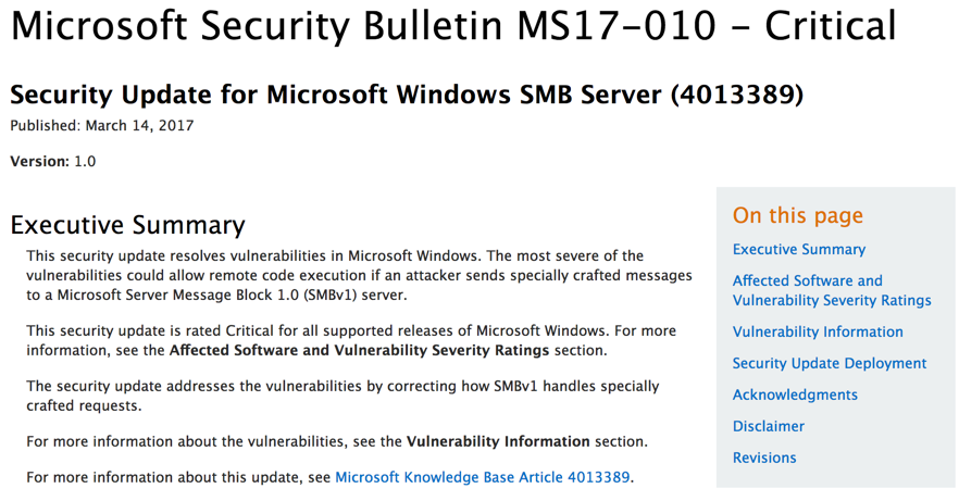 MS Security Bulletin MS17-010