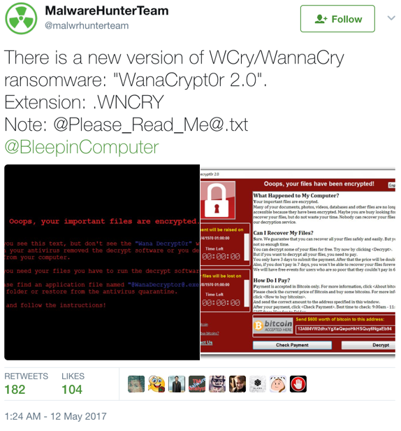 Malware Hunter Team WannaCry Tweet